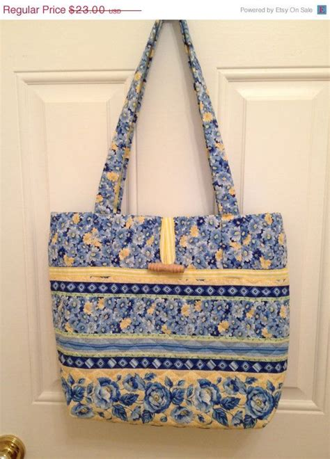 Handmade Tote Bags For Sale - big sale handmade quilted tote bag blue and yellow