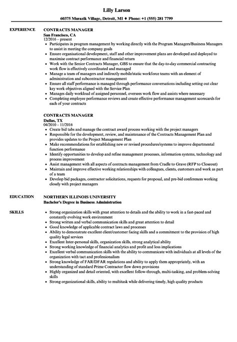 Contract Manager Resume by Contracts Manager Resume Sles Velvet