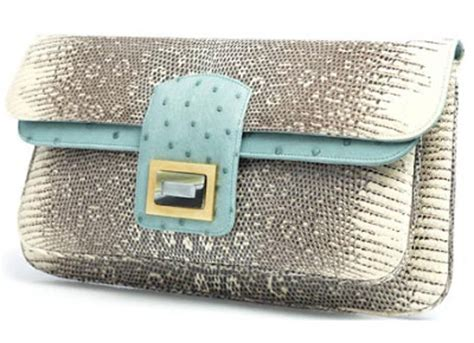 Lizard Ostrich Clutch By Kara Ross kara ross ring lizard and seafoam ostrich clutches