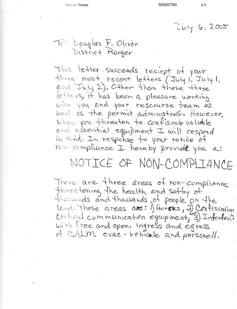 Response Letter To Non Compliance 2005 West Virginia Rainbow Gathering Permit Paperwork