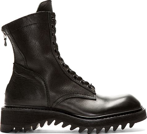 julius black leather zipped combat boots in black for