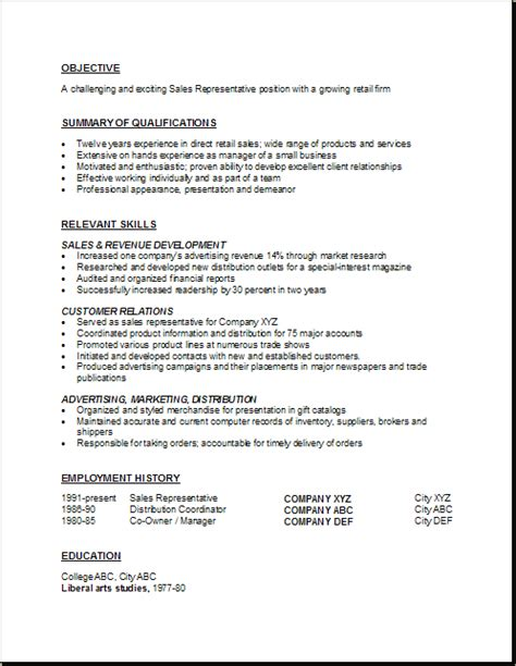 sle of a resume sales representative resume exles objective summary of
