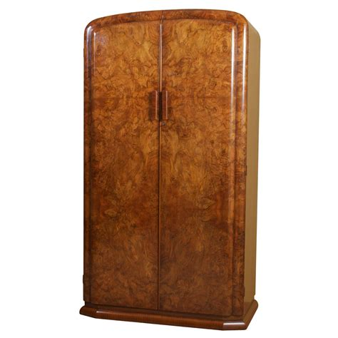 armoire or wardrobe art deco burl walnut french wardrobe or armoire at 1stdibs