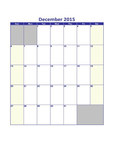 december 2015 calendar sle template free download