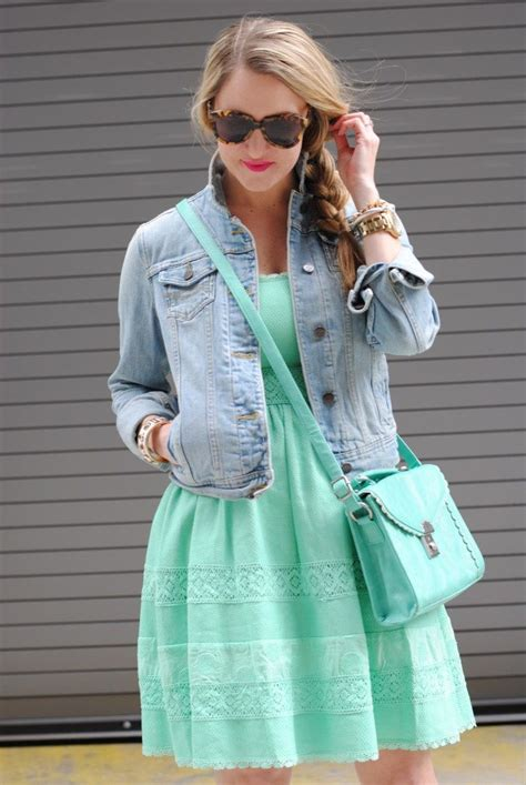 chic style dress paired denim jacket celebrity fashion
