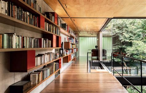 house library design modern wood house with architectural glass in sao paulo