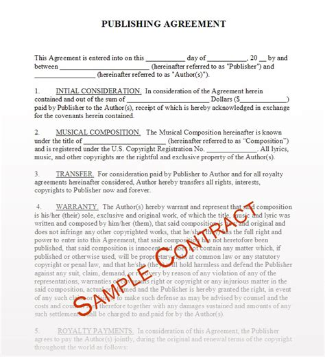 publishing agreement template contracts mpcsounds
