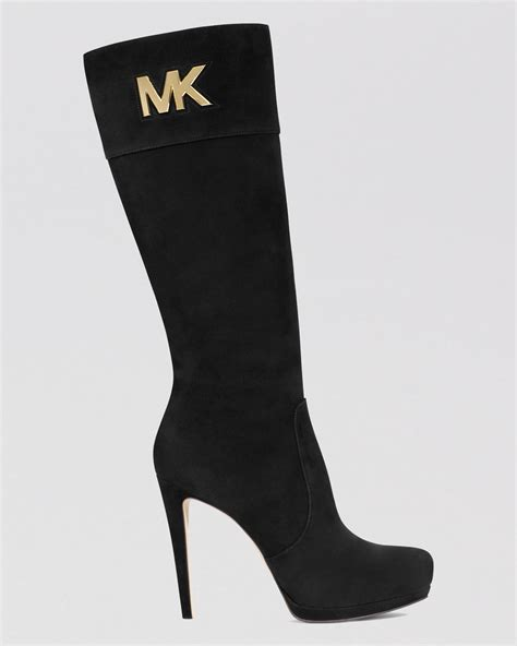 michael kors high heel boots michael michael kors dress boots hayley mk logo