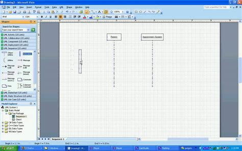 membuat uml dengan visio 2007 uml sequence diagram in visio 2007 youtube