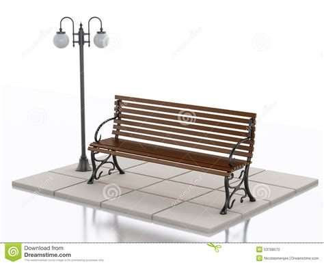 3d bench 3d bench and street l on white background stock