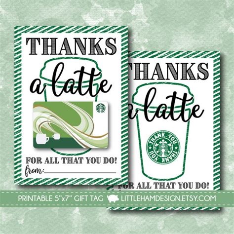 Thanks A Latte Starbucks Gift Card Template by Printable Thanks A Latte Thank You Card Starbucks Gift Card