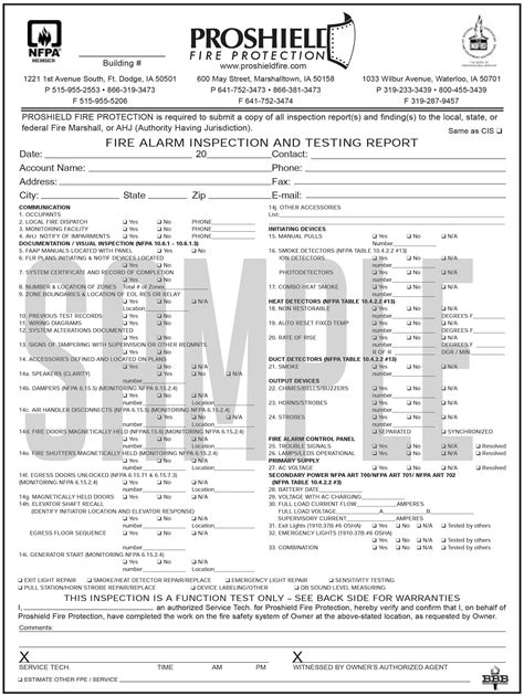 smoke test report template alarm inspection report form security sistems