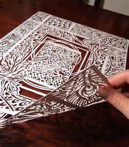 Paper Cutting Craft Work - paper cut white cabana