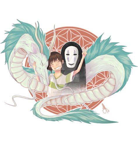 spirited away haku chihiro and no face by ashcoloured