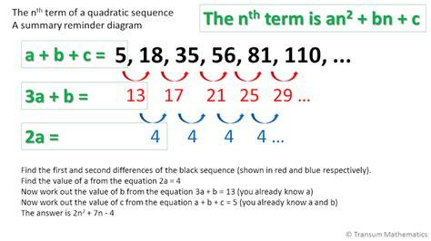 quadratic pattern questions quadratic sequences
