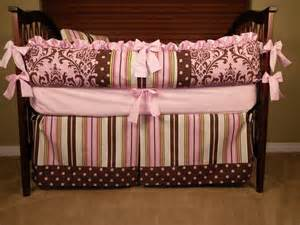 Pink And Brown Crib Bedding 5 Pc Baby Crib Bedding Damask Brown Pink