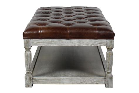Lucerne Tufted Leather Cocktail Ottoman Shalimar Cocoa