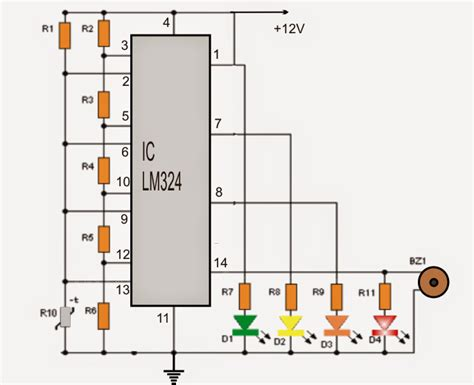 led voltage indicator circuit 4 led temperature indicator circuit