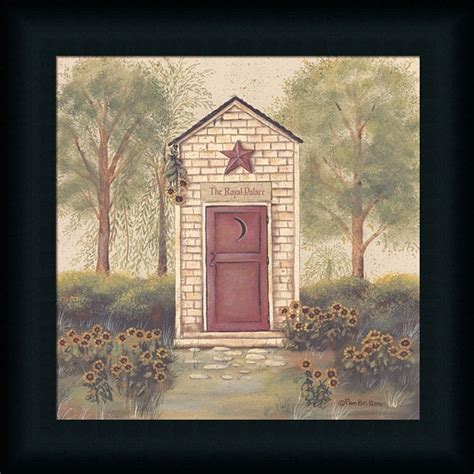 bathroom framed prints folk art outhouse iii country primitive bathroom framed