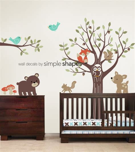 Forest Nursery Wall Decals Tree With Forest Friends Decal Set Kid S Nursery Room