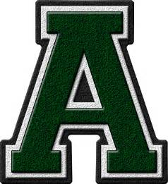 presentation alphabets forest green varsity letter a