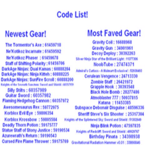 roblox hat id codes code list for gear roblox