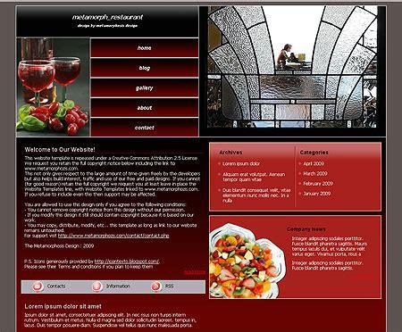 css layout restaurant metamorphosis design blog free css website template