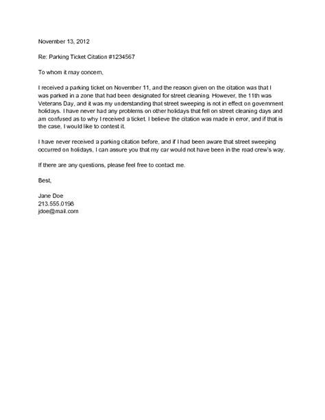 Appeal Letter For Parking Offence Exle parking ticket dispute letter docoments ojazlink