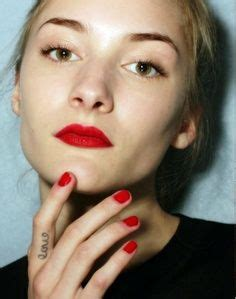 lips tattoo on finger classic red on pinterest red nail art red nails and red