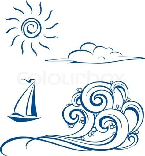 boat waves drawing vector of boat waves clouds and sun vector illustration