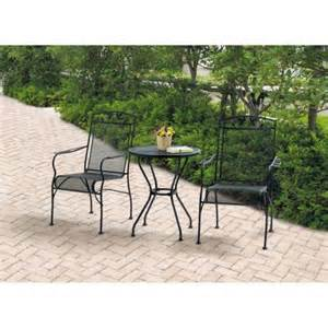 mainstays jefferson wrought iron 3 piece bistro set black