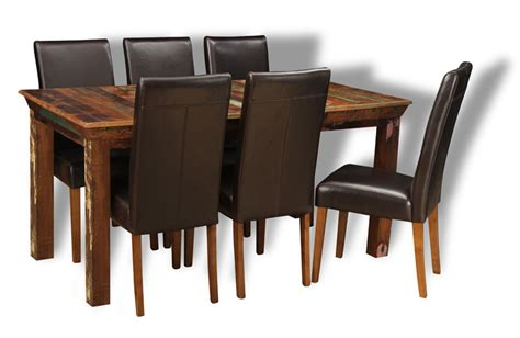 reclaimed dining table and chairs reclaimed indian medium table 6 barcelona chairs