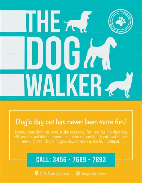 Dog Walker Flyer Design Template In Psd Word Publisher Illustrator Indesign Walking Flyer Template Free