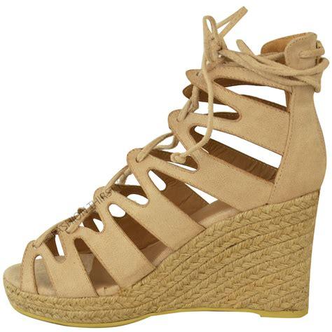 wedge gladiator sandals new womens high heel wedge platforms gladiator