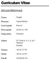 curriculum vitae format romana curriculum vitae curriculum vitae format in lb romana