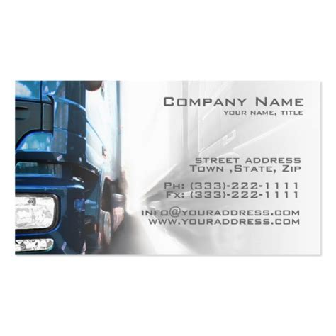 transport business cards templates free blue truck transportation logistics card zazzle