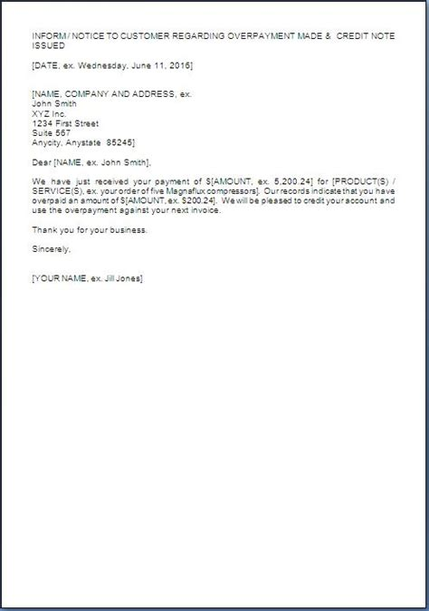 overpayment invoice letter overpaid refund cover letter