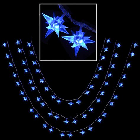 blue star fairy lights 80 blue multi function led star christmas fairy lights