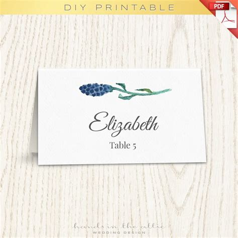 Name Cards Wedding Template floral wedding placecard template printable cards
