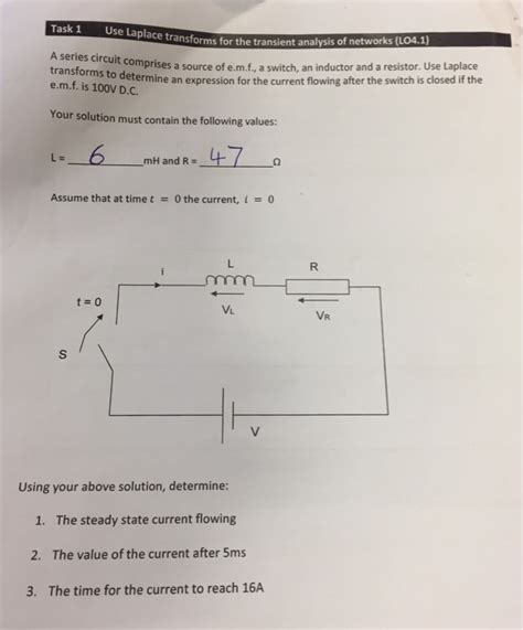 a resistor an inductor and a switch are all connected in series electrical engineering archive june 12 2017 chegg