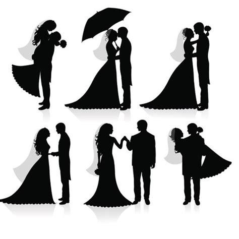 ラブリーなウェディングシルエット6種類が無料でダウンロード出来ます All Free Clipart Wedding Silhouette Template