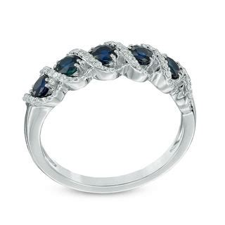 Zales S Day Rings Blue Sapphire And 1 10 Ct T W Frame Five