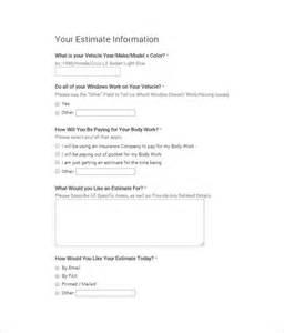 Auto Estimate Template by Repair Estimate Template 18 Free Word Excel Pdf