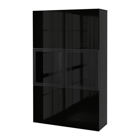 besta storage cabinet best 197 storage combination w glass doors black brown