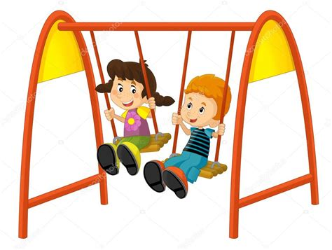 imagenes de niños jugando en un columpio ni 241 os de dibujos animados en el columpio fotos de stock