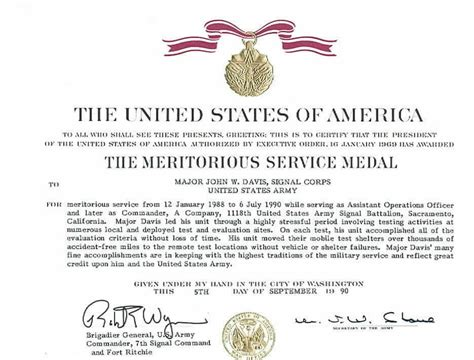 army award citation exles msm