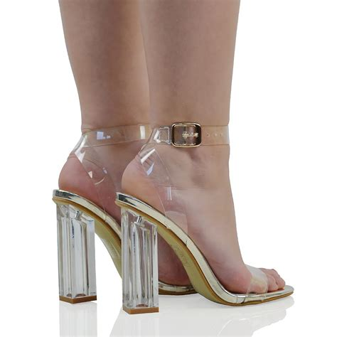 new womens clear heel and strappy peep toe sandals