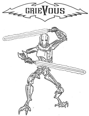 General Grievous Coloring Page Supercoloring Com General Grievous Coloring Page