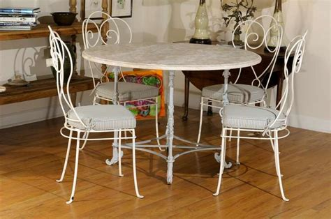 Marble Top Table With 4 Chairs by Iron Table With Marble Top And Four Chairs At 1stdibs