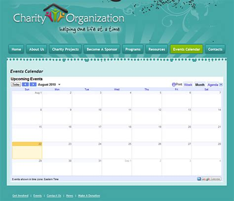 Charity Template Design 133 Charity Website Template Complete Site Event Calendar Template For Website